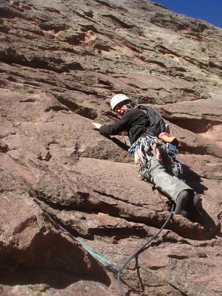 Rock Climbing Photo: Starting up P1 of the Bulge (5.7 R)  photo by Eva