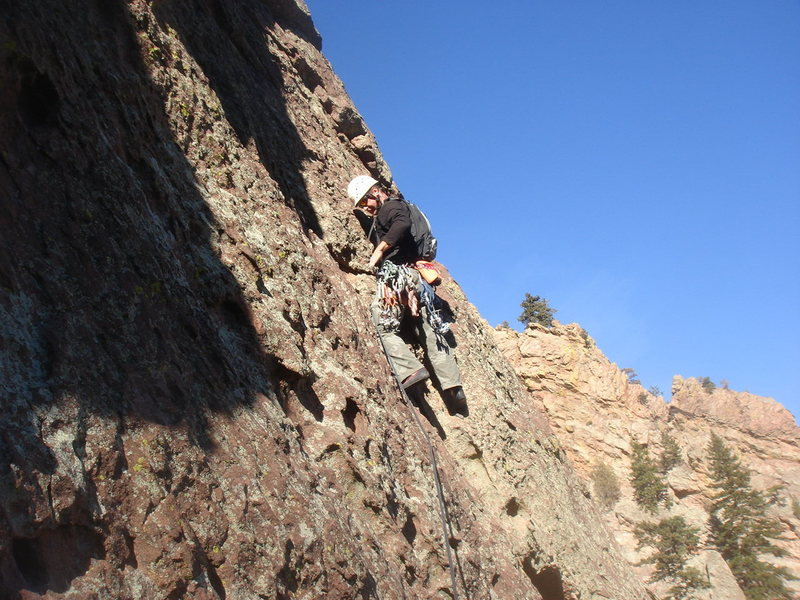 Rock Climbing Photo: Leading P3 of the Bulge.  photo by Eva