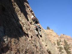 Rock Climbing Photo: Leading P3 of the Bulge.  photo by Eva