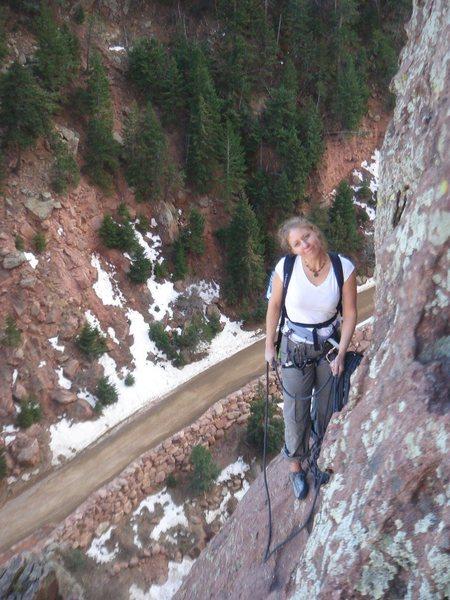 Rock Climbing Photo: Eva at anchor 3 of The Bulge.