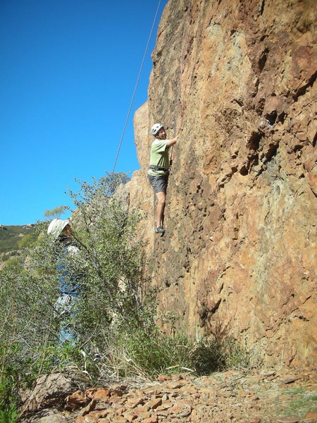 "Working through the lower crux of ""Sasha,"" on a beautiful winter day."