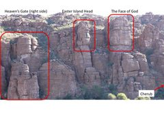 Rock Climbing Photo: Heaven's Gate area in relation to Godhead South (p...