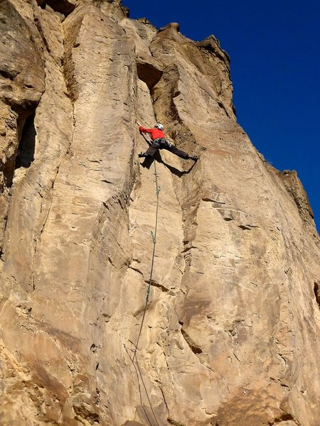 Very interesting and sustained stemming above the crimpy crux. January 2012.