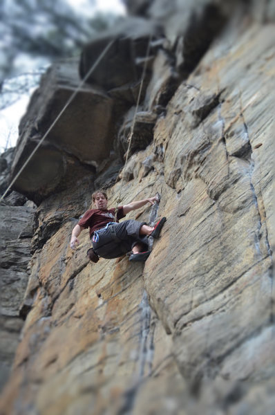 Great route with awesome side pulls. There's a killer knee bar spot just as you get up into the overhang.