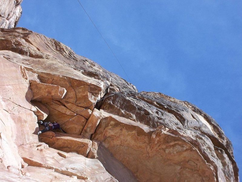Rock Climbing Photo: Taylar pulling into the base of the roof
