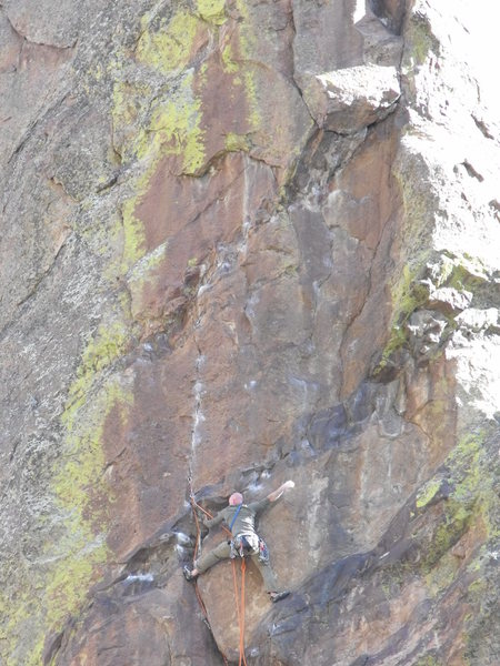 Rock Climbing Photo: Starting the left variation crux rope-solo.  The p...