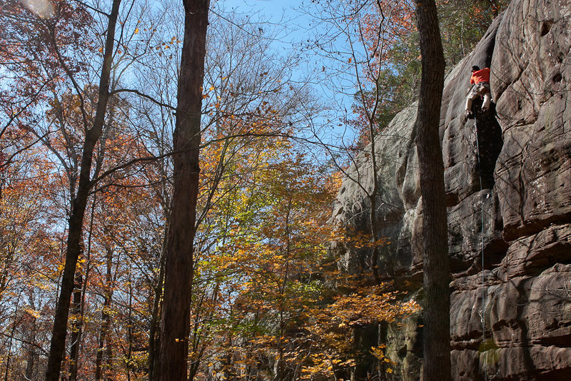 BW on Stand and Deliver.<br> 5.11b<br> Jackson Falls<br> southern Illinois