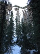 Rock Climbing Photo: Taken from the trail. Moonlight is the left-hand r...