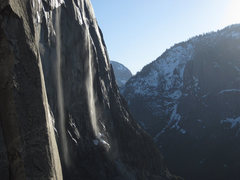Rock Climbing Photo: water pours down the east side of El Cap