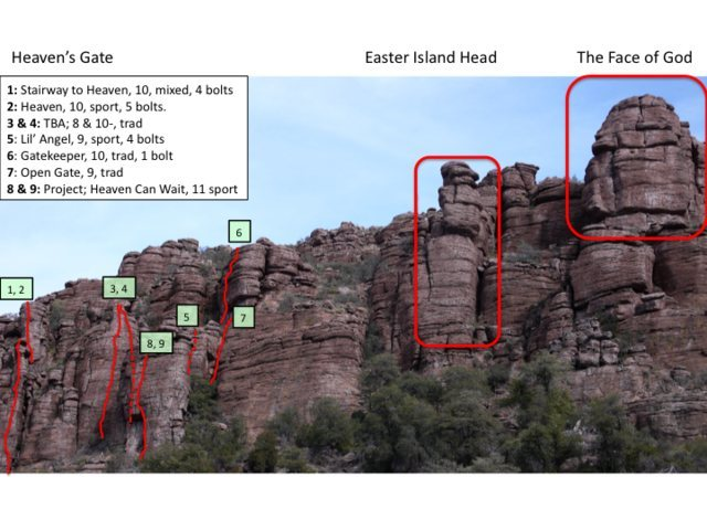 Sketch of some of the climbs at Heaven's Gate, rough location only, but relative to prominent Godhead South features, so hopefully you can navigate.