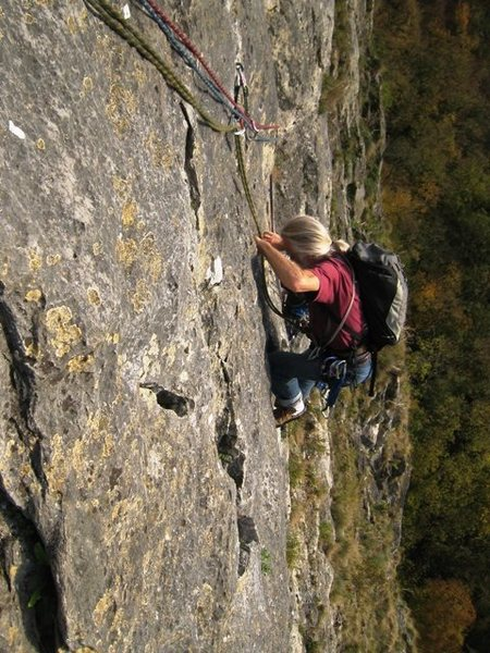 Jean Bourgeois, aficionado of Freyr climbing, coming up the fourth pitch of L'Hypothénuse.  <br> <br>