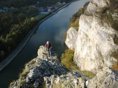 Rock Climbing Photo: Jean Bourgeois topping out Al'Legne.  Le Pape and ...