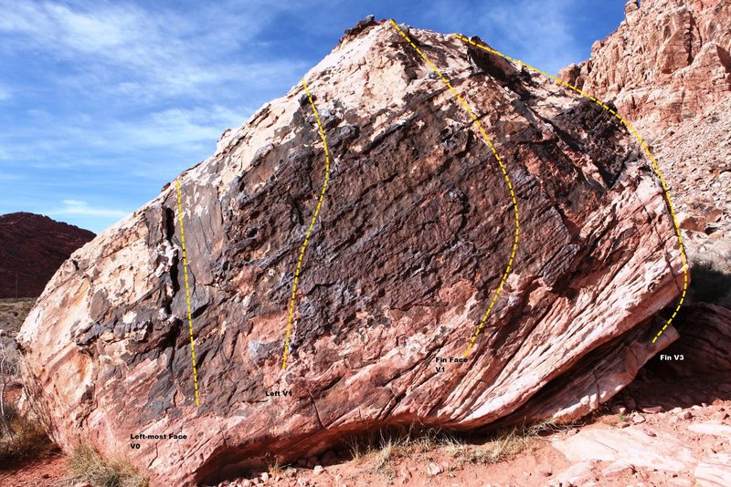 Rock Climbing Photo: Black Warm Up Boulder Front Topo