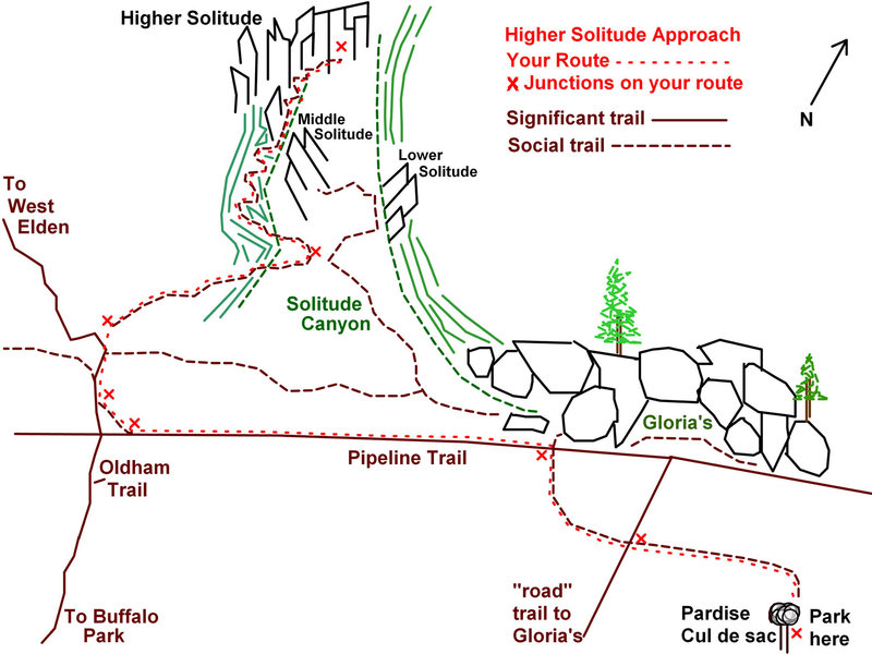 This map is exaggerated to show the intended path more clearly, and is certainly not to scale. The Pipeline/Oldham route may be a hair longer than skirting Glorias, but in the seasons you will want to access this crag (Fall, Winter, Spring), it will be sunnier and drier. The hike takes about 45 minutes.