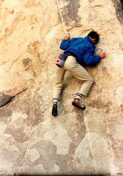 "Caption and photo taken from C Miller: ""Bouldering at Trashcan Rock, Joshua Tree NP. Photo by Jim Hammerle (November 1986)."""