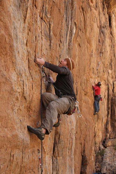 Rock Climbing Photo: Clay in the zone while Geir starts Fatmandu