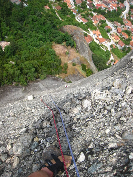 Rock Climbing Photo: Looking down from mid-way up the route.