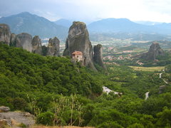 Rock Climbing Photo: Monastery with Doupianifels sitting stoicly alone ...