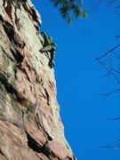 Rock Climbing Photo: Paul at the crux of Stool Pigeon on stellar warm, ...