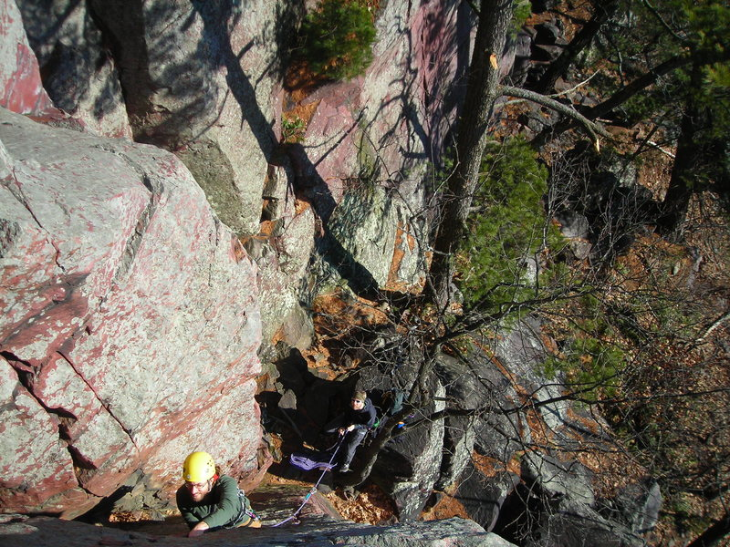 Rock Climbing Photo: Looking down on Eric as he works The Spine on a ve...