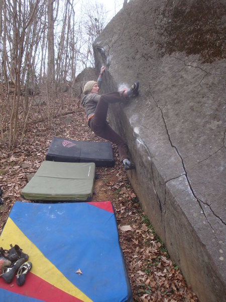 Jen working through Tomb Traverse, Governor Stable, Pennsylvania