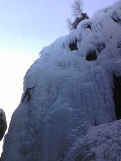Climber on Pic of the Vic.  Ouray Ice Fest.  January 2012