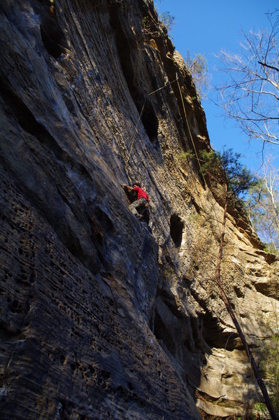 Rock Climbing Photo: Chris midway on the route