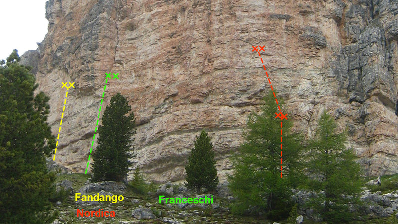 A small subset of the sport routes on the Southwest face.