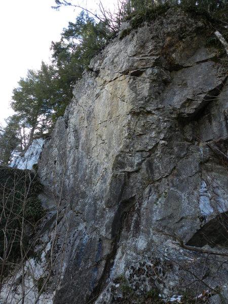 Majestic Steeds climbs the arete/orange face