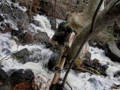 Rock Climbing Photo: Crossing the raging pour off of The Waterfall.