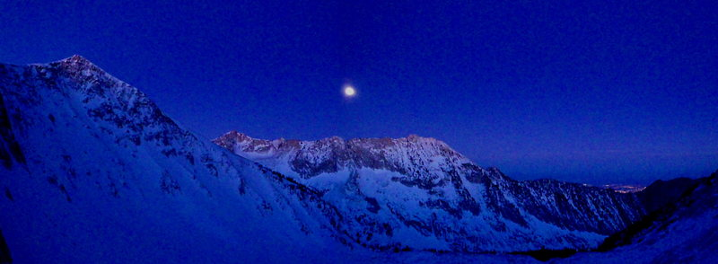 First light on the full moon setting. Photo taken from the lower crux