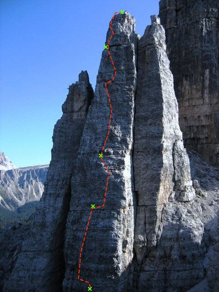Rock Climbing Photo: The upper 4 pitches of Nordwand