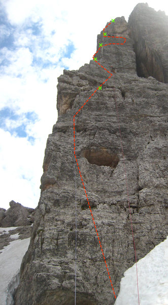 Rock Climbing Photo: Rough estimate of the first 5 (short) pitches and ...