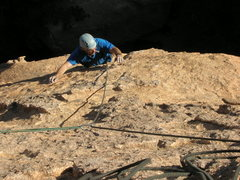 Rock Climbing Photo: Reaching for another chicken head on Nightstalker.