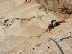 Rock Climbing Photo: Cleaning gear on the second pitch