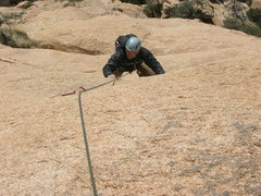 Rock Climbing Photo: Getting into the last little bit of hard slab, top...