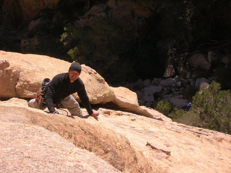Mark nearing the top of the second pitch.