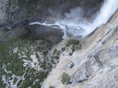 Rock Climbing Photo: Looking down, you can see the first big bivy ledge...