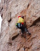 Rock Climbing Photo: Brandon at the crux move.