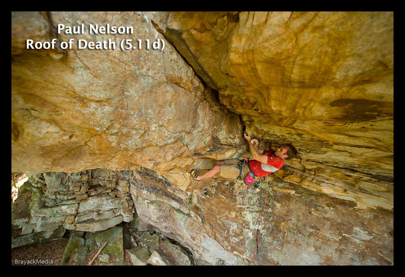 Me (camhead) on Roof of Death (aka Carebear Crack), The Other Place, Meadow River, NRG, WV, spring of 2009.  Photo by Dan Brayack.