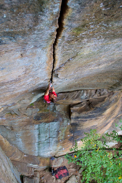 Rock Climbing Photo: Me working the nemesis.  First of three in the WTM...