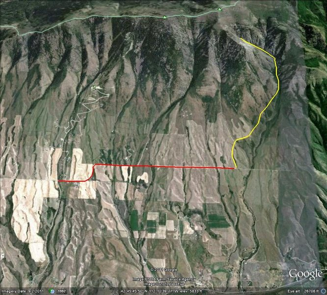 Rock Climbing Photo: Travel Map  Red=Driving Bonneville Rd (2.5 miles) ...