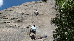 Ben belaying me on Stout Blue Vein 5.8