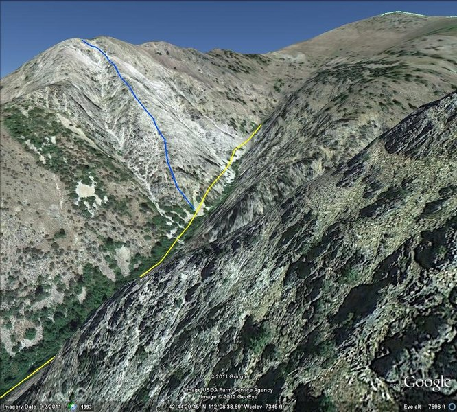 Google earth doesn't show the terrain features. But this is a rough idea of the route up.<br> <br> Yellow=route to the Rock Creek Runnel<br> Blue=South Ridge Berk/Taylor