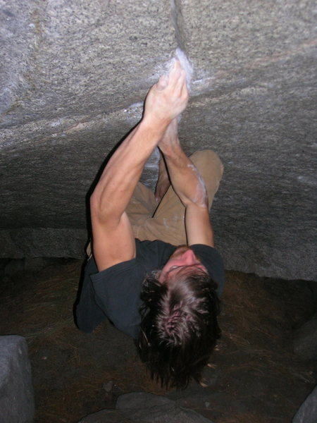 Rock Climbing Photo: Barefoot ascent of the Bachar.  Getting into the n...