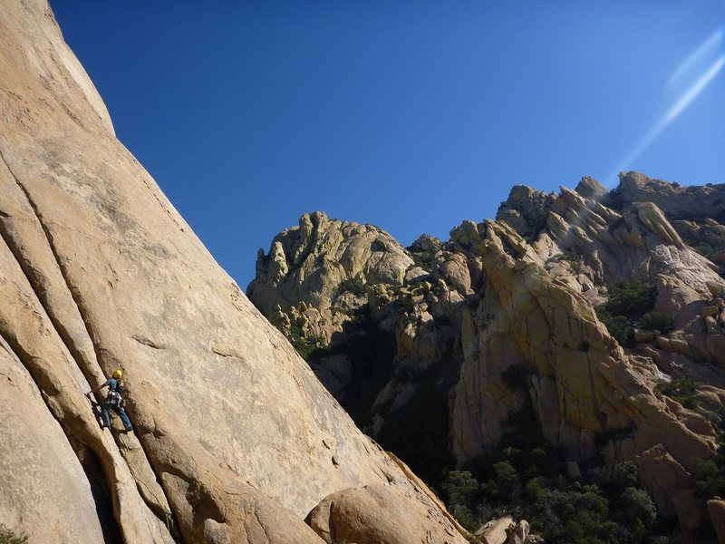 Rock Climbing Photo: Zeb on the first pitch of Moby Dick