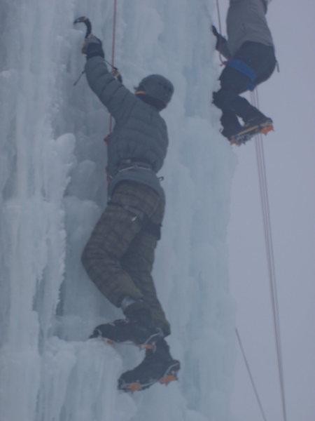 Rock Climbing Photo: Me working my way up. First time climbing ice.
