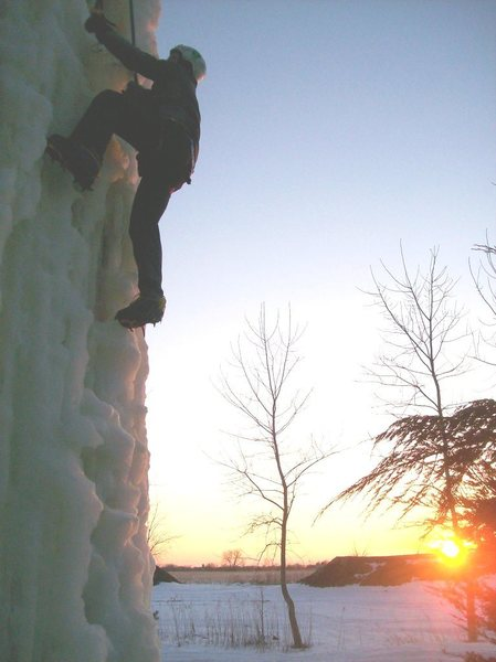 Rock Climbing Photo: sunset ice