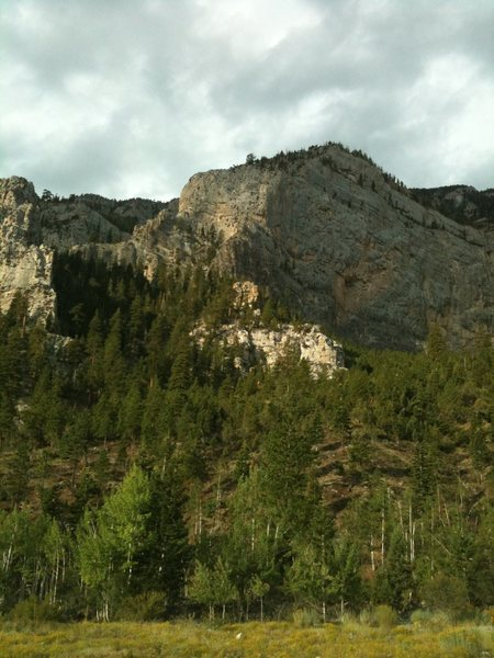 Good look at Imagination Wall at Mt. Charleston from the Mary Jane Falls Parking lot.