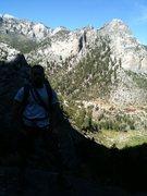 Rock Climbing Photo: Bad Photo. Great view down the mountain.